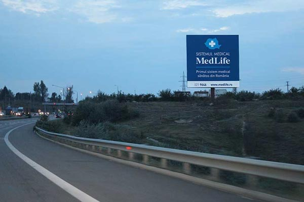 Roadside advertising billboards and spectaculars in Romania